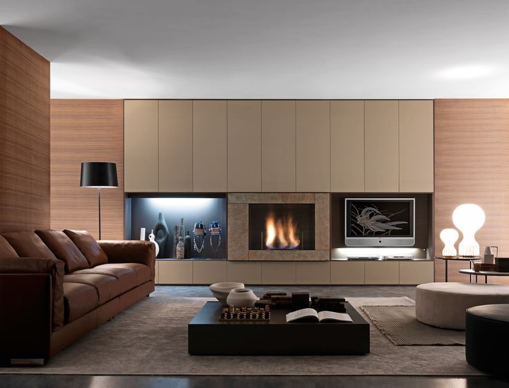 Living Room, Minimalist Functional Living Room With Dark Wall System From  Presotto Italia: Captivating Tone For Innovative Inspiration For E.