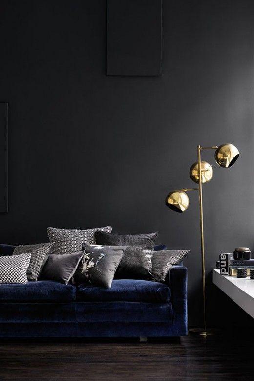 #deco #salon gris foncé et bleu