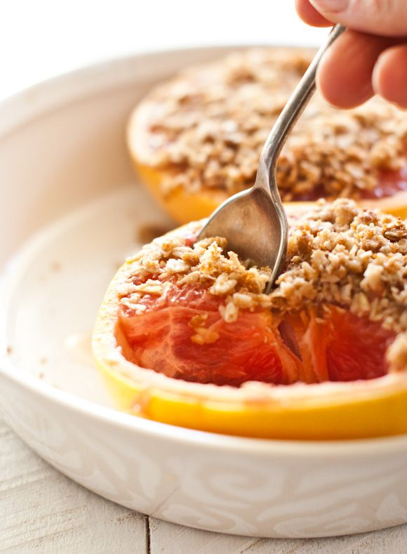 baked grapefruit with honey, oats & brown sugar.  I love grapefruit but can only eat so much on its own.  This was so yummy sweet and warm.  But is was kind of hard to eat....nothing like the pic.  Next time might peel & section the grapefruit and add the topping on top...kind of like a crumble version so its easier to eat.