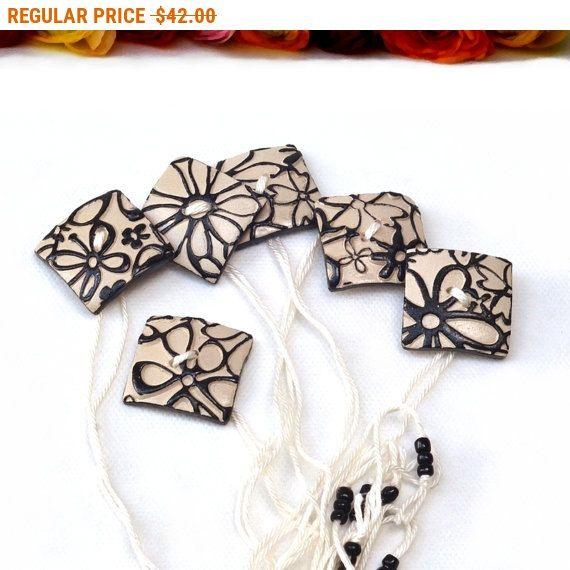 SALE Wedding Napkin Ring - Set of 6 Black and White Ceramic Napkin Rings Holiday gift Hostess gift Nr013 by StudioDhomeDecor