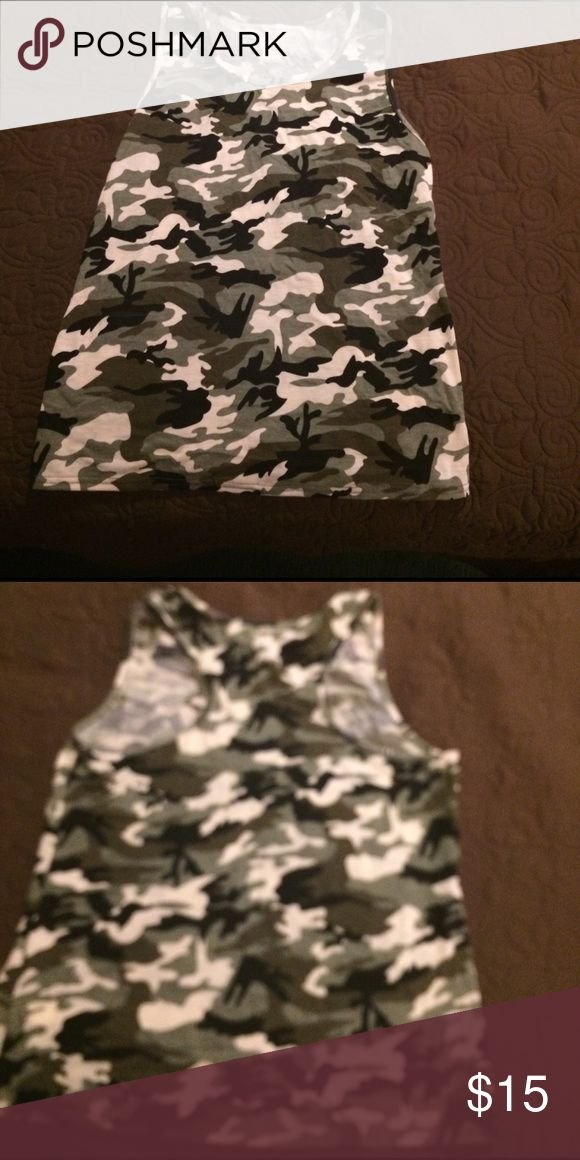Camo tank top Camouflage tank. Never worn, says size XL but fits more like a medium. Open to offers! Tops Tank Tops