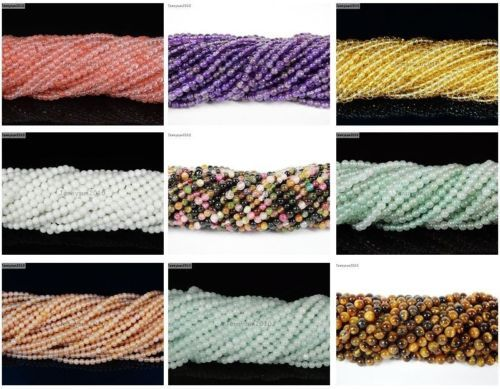 Natural-Gemstones-2mm-3mm-Round-Spacer-Seed-Beads-15-5-Jewelry-Design-Crafts