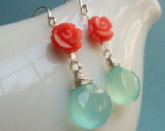 Boucles d'oreilles corail et aqua, Tiffany bleu, SET de quatre, demoiselle d'honneur cadeaux, bijoux de mariage, mariage à destination, orange et Sarcelle, quatre paires
