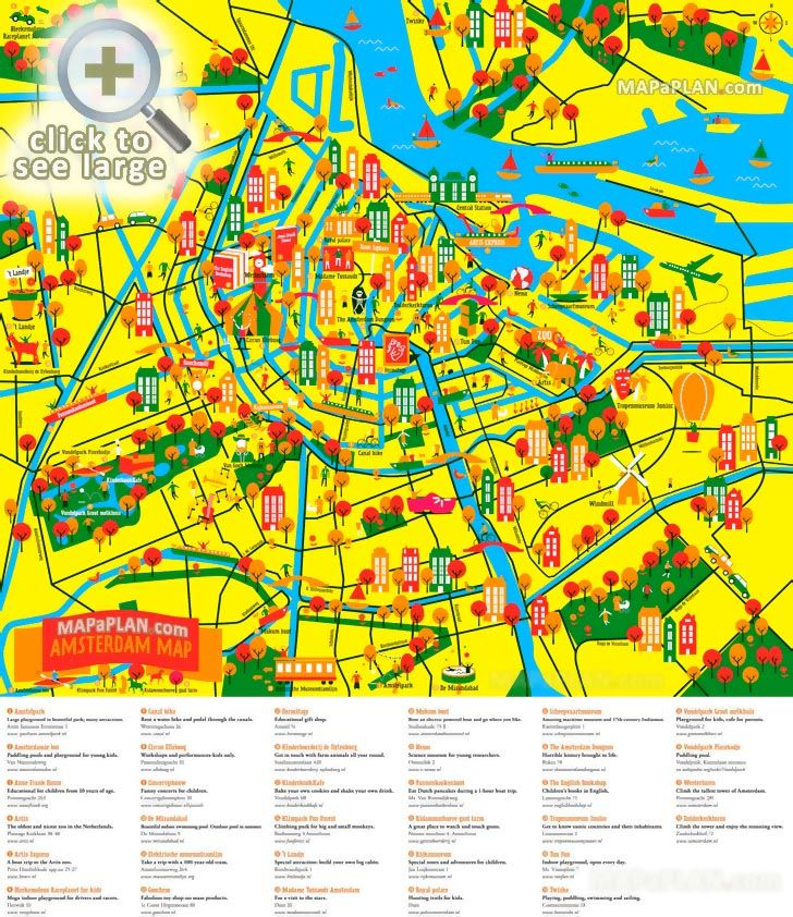 Fun tourism things to do with family kids poster Amsterdam top tourist attractions map