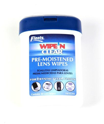 Flents Wipe 'N Clear Lens Wipes Pre-Moistened Wipes, 5-pack. Perfect for cleaning eyewear, computer screens, CDs/DVDs and cameras. Flents Wipe 'N Clear Lens Wipes Pre-Moistened Wipes Dispenser is designed to lifts off grease, dust and lint conveniently without scratching. Streak-free and anti-static. Pre-moistened wipes are designed to lifts off grease, dust and lint conveniently without scratching. Dries instantly. It is anti-static and streak free. 5-pack.