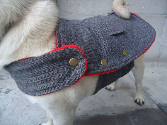 Dog coat. Upcycled tweed pug rain coat made from repurposed and vintage fabrics. Small dog coat. Pug rain jacket. Reversible.