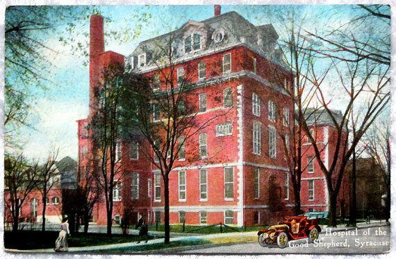 Syracuse NY Hospital Good Shepherd Postcard, Huntington Hall Syracuse University, Antique Vintage c1910 by OakwoodView on Etsy, $5.00