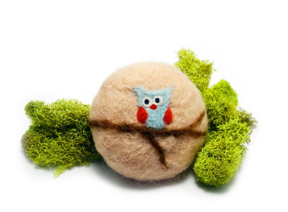 Owl on a Branch   Needle Felted Soap Tan wool by 358studio on Etsy, $12.50