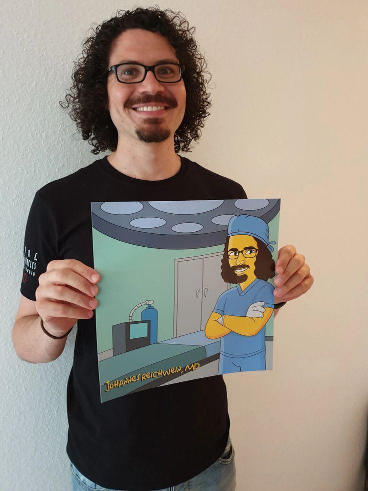 Gelbes Cartoonportrait von einer Person - Karikaturen