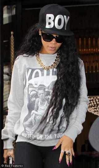 Rihanna wearing Boy London. Get yours here...http://www.seasonsclothing.co.uk/item/Boy-London/Boy-London-Boy-Cap---Black-on-Black/1CQB
