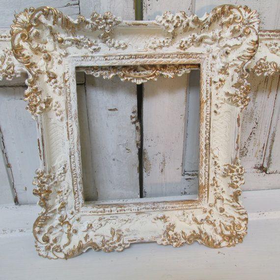 Oro blanco marfil pintado cuadro cuadros shabby chic