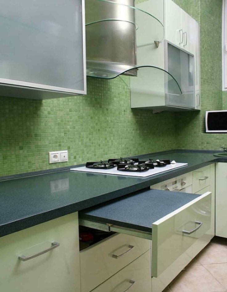 Elegant Modern Kitchen In Green Color Inspirations : Fascinating Green Kitchen  Decoration With White HiGloss Cabinets And
