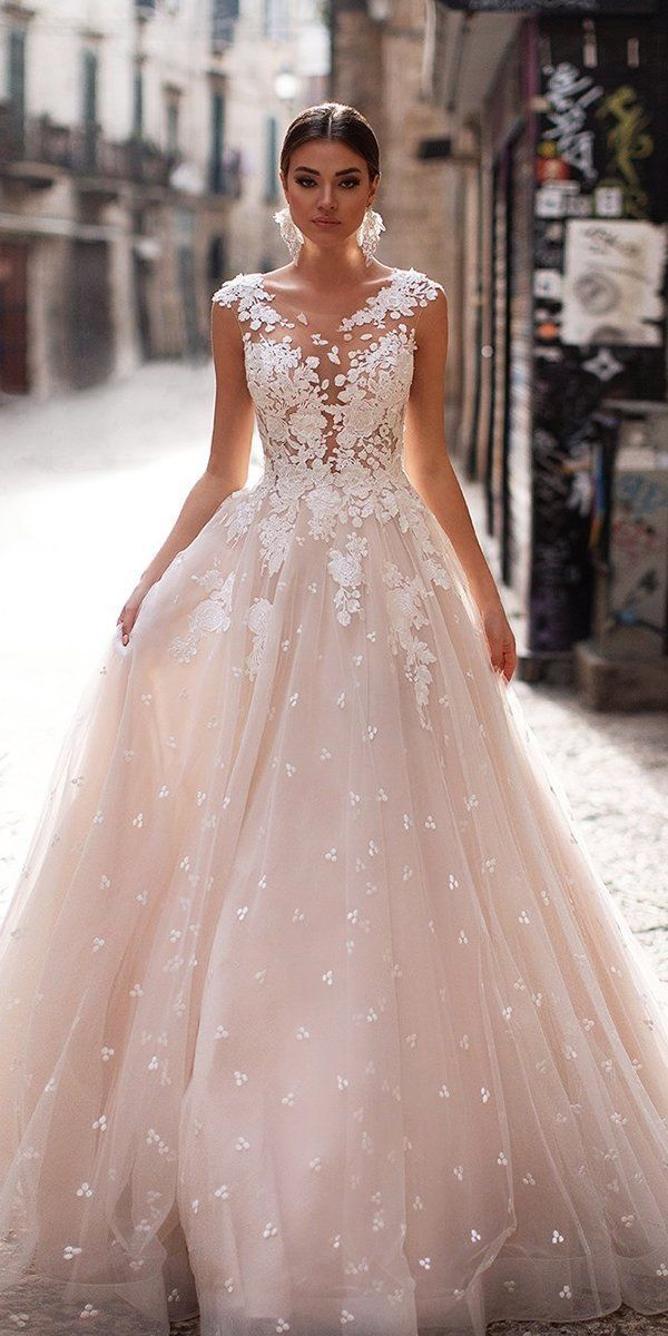 27 Peach Blush Wedding Dresses You Must See Wedding Forward In 2020 Peach Blush Wedding Dress Blush Wedding Gown Wedding Dresses Blush