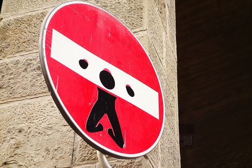 Street art in Florence: look at the traffic signs!