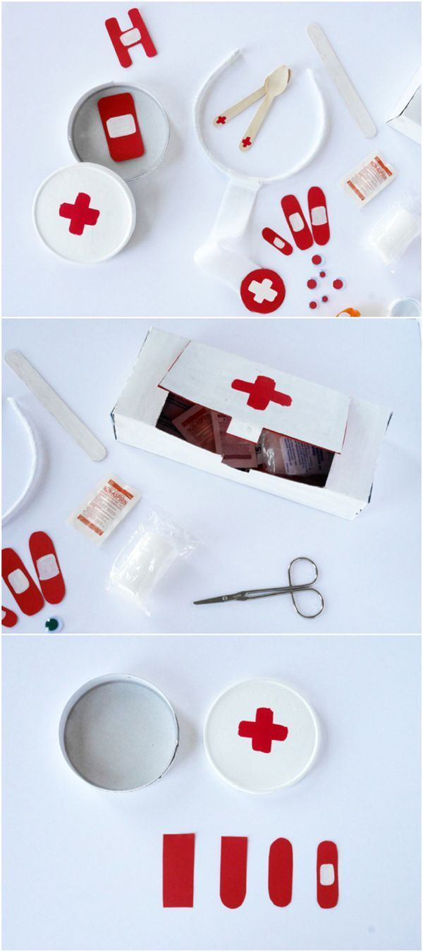 DIY Recycled Doctor Emergency Kit for Pretend Play. If your kids like playing doctor or nurse, they'll love this adorable pretend play kit made of simple recycled materials!