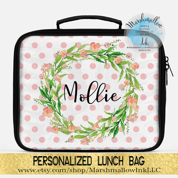 Lunch box  Personalized lunch bag  Monogram by MarshmallowInkLLC