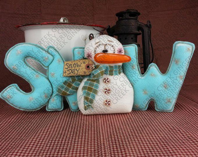 E-Pattern - Snow Day Snowman Pattern #161 - Primitive Doll E-Pattern