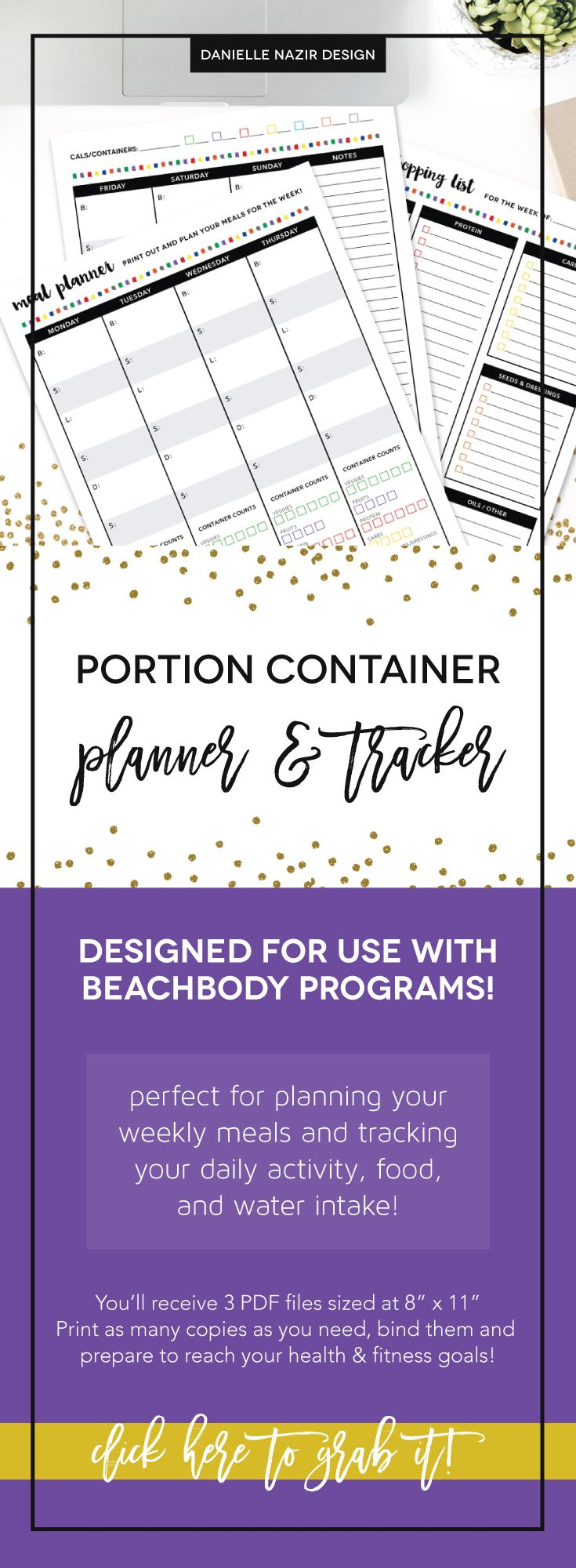 """Portion control container planner & tracker! Perfect tool to plan your weekly meals and track your daily nutrition. You'll receive 3 PDF files (8"""" x 11"""") - Weekly Meal Planner, Grocery Shopping List & Daily Food Tracker. // 21 Day Fix Tracker // Core de Force Tracker // Beachbody Tracker // Nutrition Tracker // Meal Planner // Food Log // Portion Container Tracker // Colored Container Tracker // Nutrition Planner // Nutrition Tracker"""