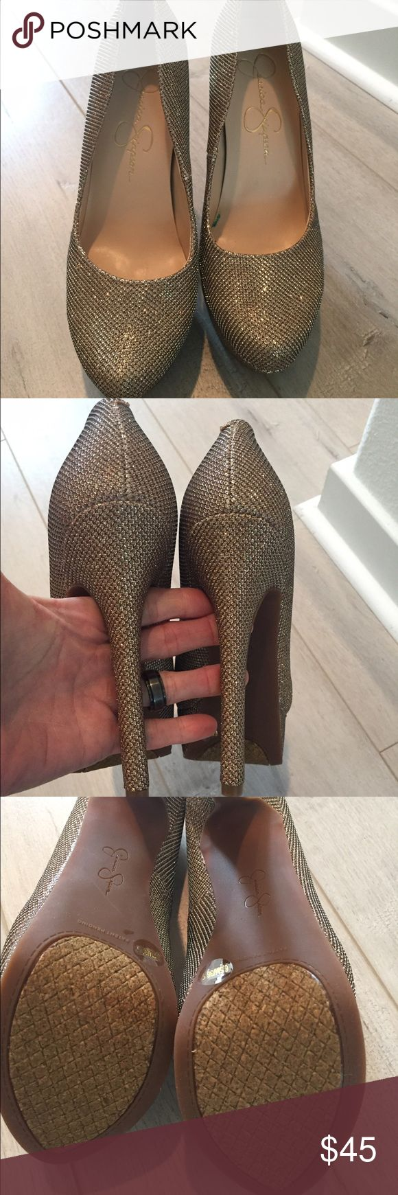 Jessica Simpson Bette-champagne/gold sparkle heels Never worn. Size 6.5. Too big for me. No box Jessica Simpson Shoes Heels