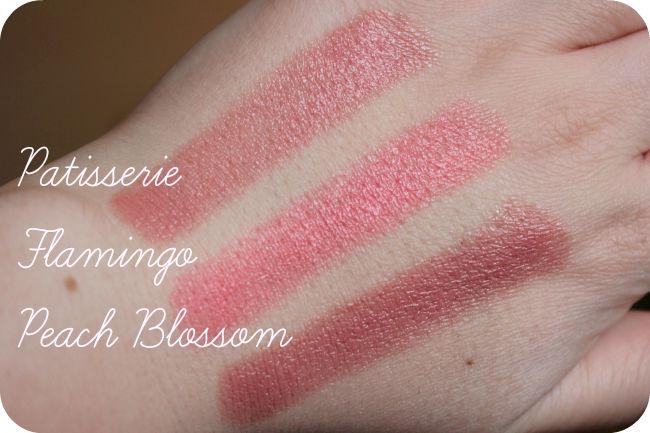 mac lipstick swatches patisserie flamingo peach blossom