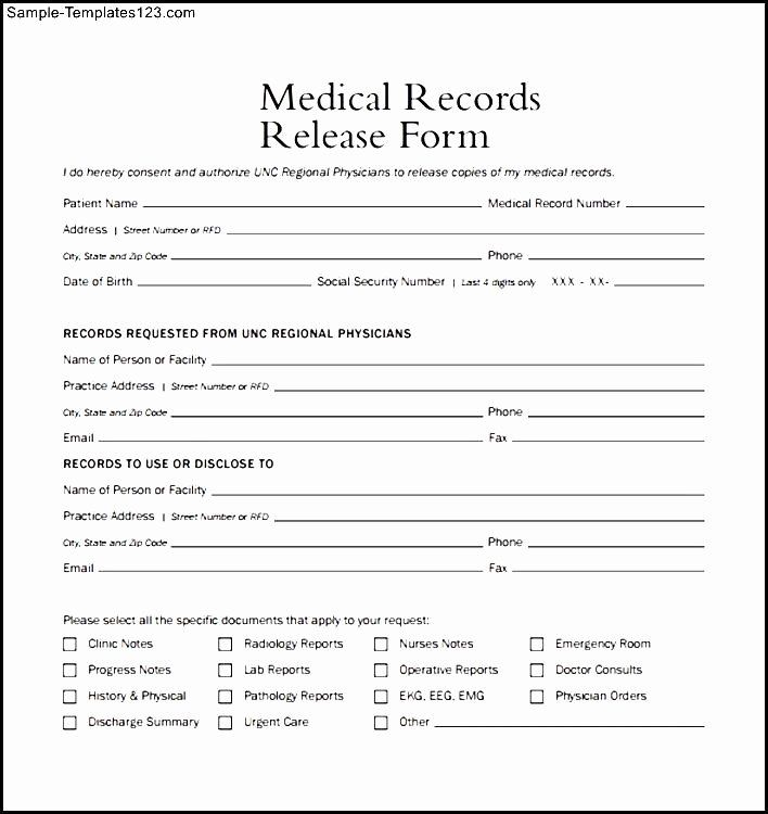 Medical Record Form Template Unique Medical Form Example Templates Free Printable Medical Records Medical Sample Resume
