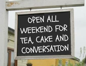 Tea, Cake & Conversation! ;D Love this! Makes me want a sign in my kitchen so I can write fun messages on it. <3 ~ wouldn't it be lovely to have a little room in your house just for tea?