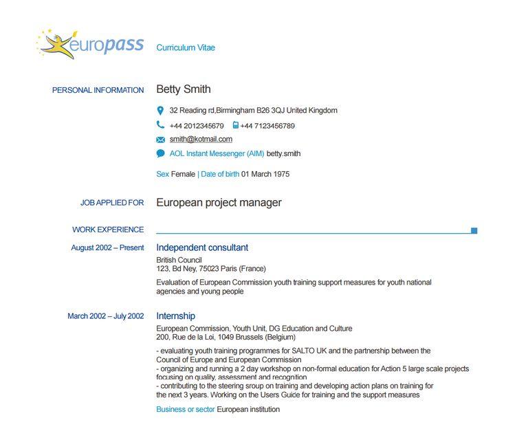Les 25 meilleures idées de la catégorie Europass cv sur Pinterest - europass curriculum vitae
