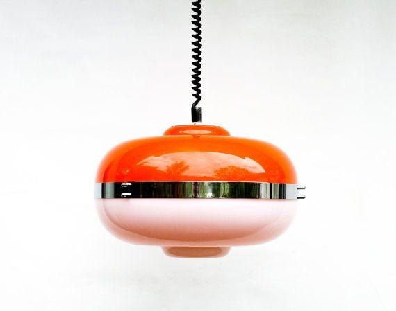 Atomic Ceiling Light - Orange and White Chrome Space Age Ceiling Lamp Pendant Lamp - 60s 70s Italian Retro Home Decor