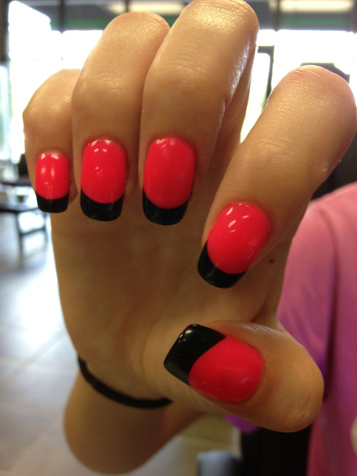 colored French nail design...maybe black tips with green or orange bed for Halloween