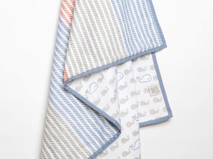 Mama Whale-Organic Cotton Baby Blanket, Nautical Theme Baby Blanket, Baby Blanket, Whale, Gender Neutral Baby Gift, Baby Shower Gift.
