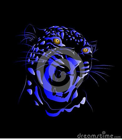Neon blue and royal blue colors vector line art drawing of a leopard with a black background.
