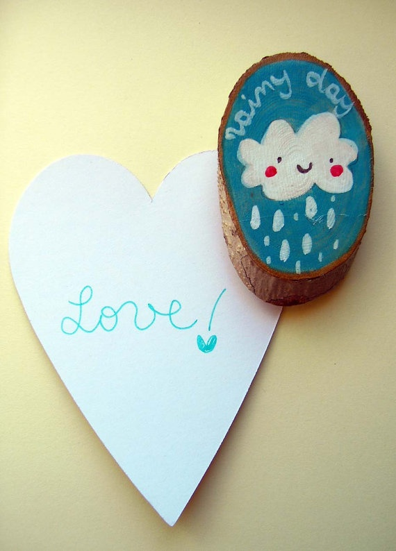 wooden magnet for your fridge hand painted Rainy by violinoviola, $10.00
