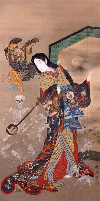 Hell Courtesan, Priest Ikkyu, and Skeletons (Jigoku-dayū to Ikkyū, 地獄太夫と一休) / Kawanabe Kyōsai (Japanese Artist, 1831–1889)