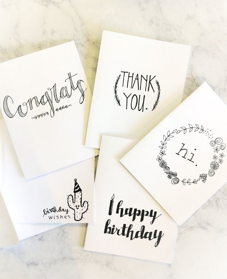Everything Greeting Cards- set of 5, Hand Drawn Cards, Black and White by ModernIris on Etsy