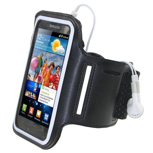 igadgitz Nero Fascia Braccio Armband Sport Corsa Fitness per Samsung Galaxy S2 i9100 Android Smartphone Mobile