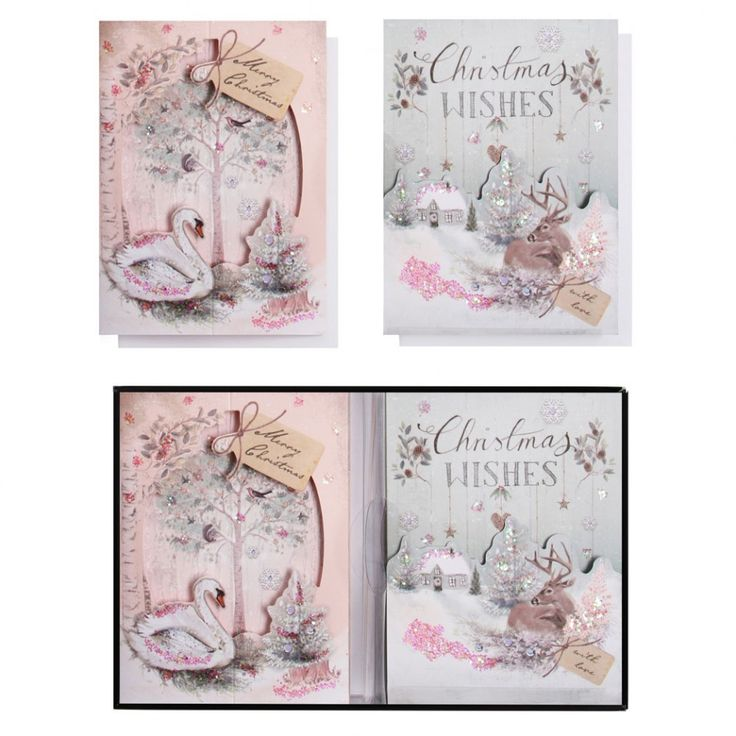 Swan and stag theatre Christmas cards - box of 8
