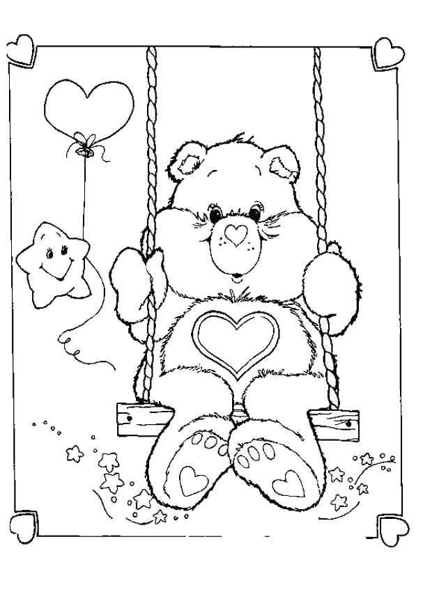 Care Bear Having A Swing Coloring Page