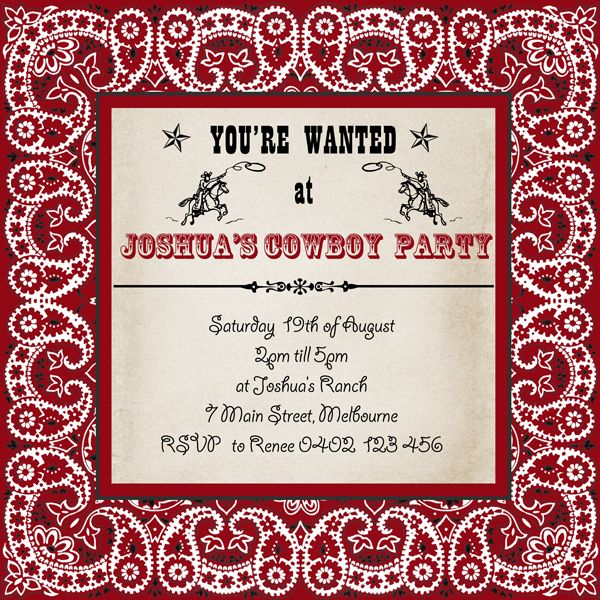"Mother Duck Said: ""Lets Party!"": Cowboy Bandana Invitation / Cowgirl Bandana Invitation"