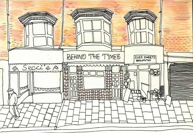 fine liner line drawing crayon colour illustration bridlington seaside town street buildings