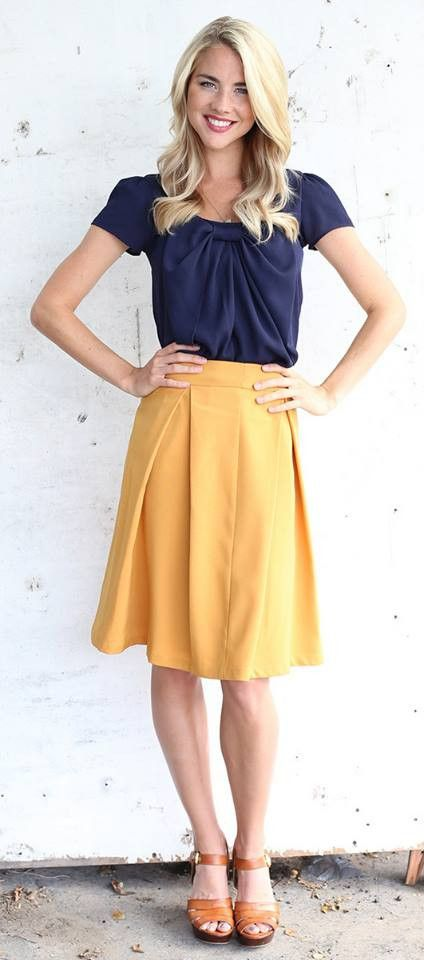 Royally Pleated Skirt (Mustard) with the Chiffon Bow Top in navy: I really like mustard and navy together. This top would be flattering to someone like me, who is smaller on top.