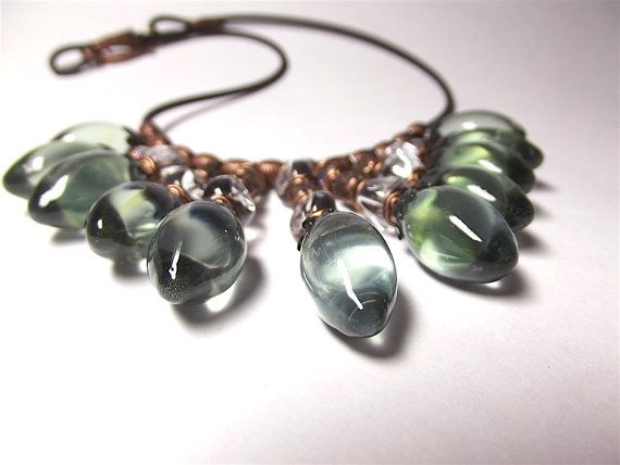 Ice necklace from glass and copper. Gorgeous showy by Taptamba
