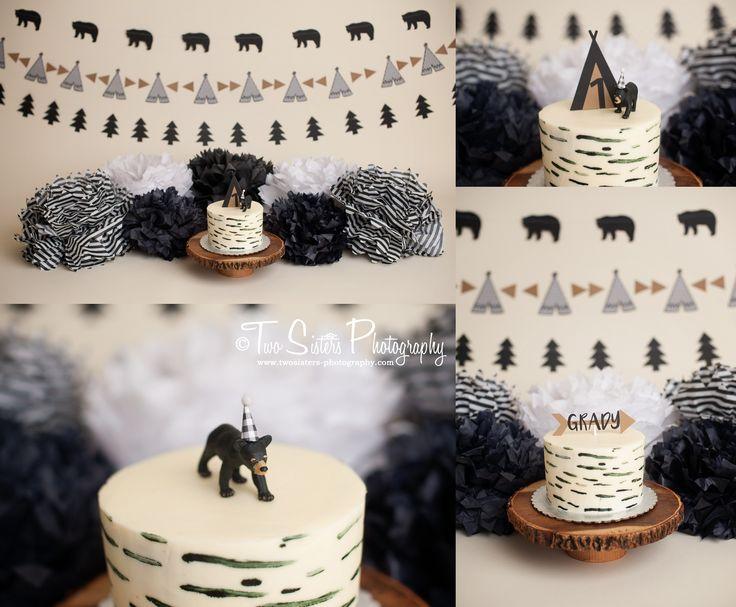Black bear cake smash session, modern tribal cake smash session, teepee, trees. Black and white cake smash session. Wild one | tree banner | tee pee banner | bear cake  Two Sisters Photography, Bonney lake, WA