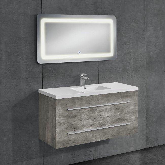 [neu.haus] Zementfarbener Badezimmerschrank mit Waschbecken+Spiegel 60x80cm