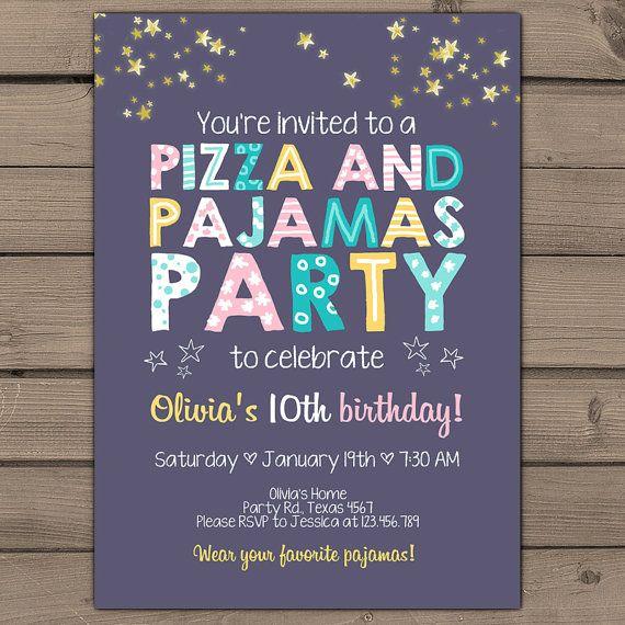 Pizza and Pajamas Party Invitation Pizza door Anietillustration