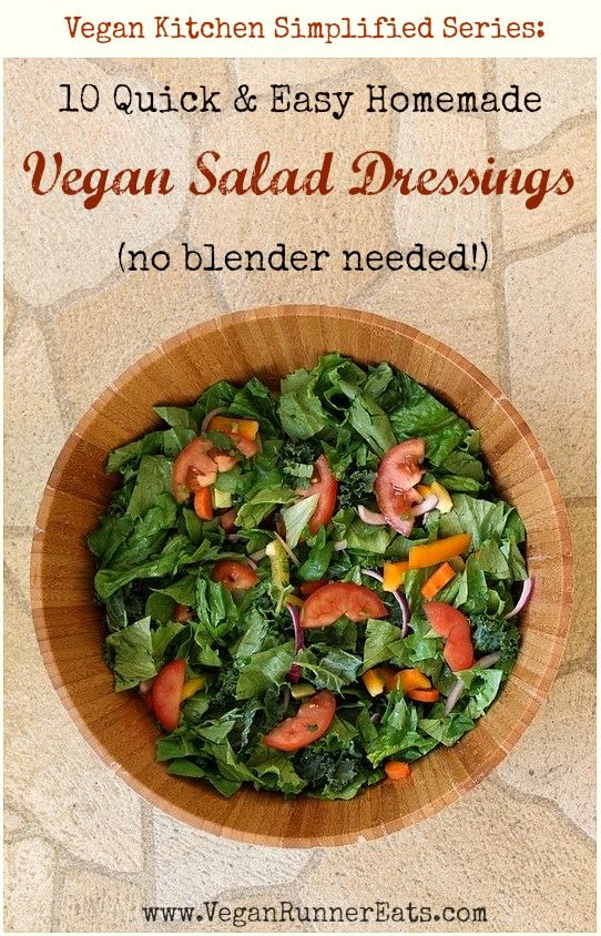 10 easy, quick and foolproof oil-free vegan salad dressings, no fancy ingredients or kitchen tools needed! Each recipe comes together in less than 2 minutes, and makes just enough for one large salad.
