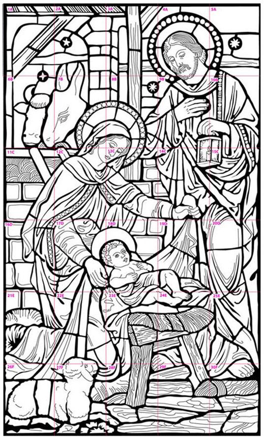 Nativity Stained Glass Coloring Pages
