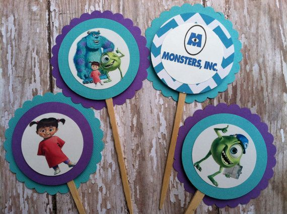 Monsters Inc Cupcake Toppers Monsters Inc by MerryMakersPapier, $8.00