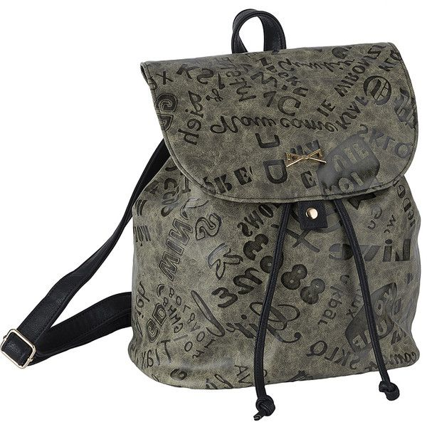 Achilleas Accessories - Προϊόντα : New Collection | FW 2014-15 / Τσάντες / Backpacks / ΤΣΑΝΤΑ ΠΛΑΤΗΣ ΓΚΡΙ LETTERS PRINT found on Polyvore