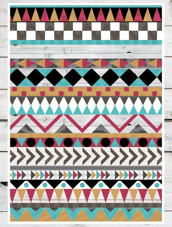 Tribal Pattern Multi Colours MANY SIZES Modern by TeacupPiranha