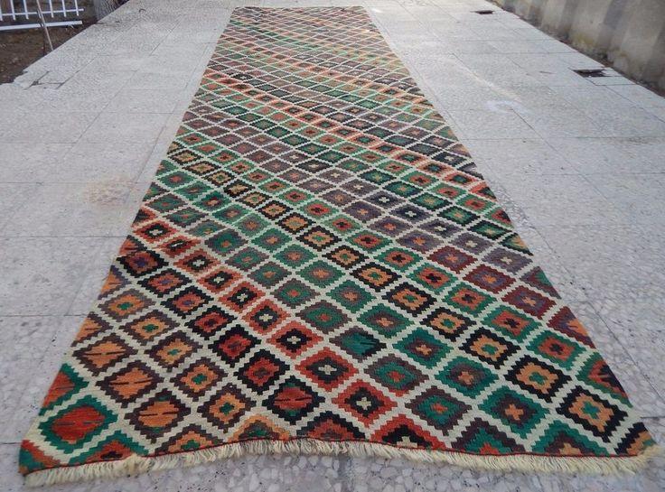 13 Foot Vintage Extra Long and wide Handmade Wool Turkish Hall Kilim Rug Runner #Turkish